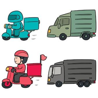 Vektorsatz der lieferungsperson und -logistik