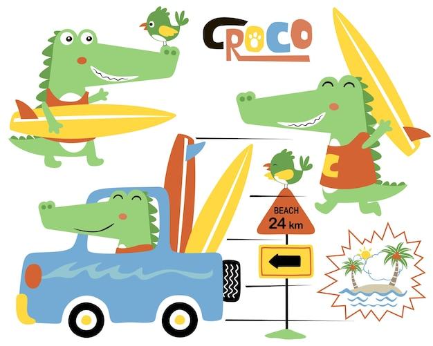 Vektorsatz der lustigen krokodilkarikatur auf auto mit surfbrett