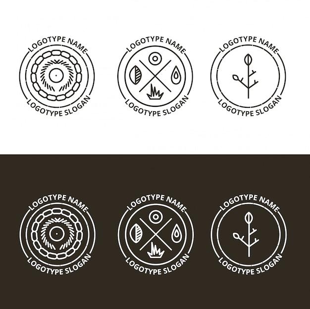 Vektorsatz der natur und des reisenden logos
