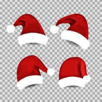 Vektorsatz der realistischen isolierten weihnachtsmannmütze für dekoration und abdeckung auf dem transparenten raum. konzept der frohen weihnachten und des guten rutsch ins neue jahr.