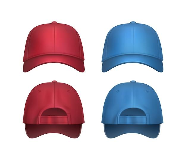 Vektorsatz der realistischen roten, blauen baseballkappen-seiten- und rückansicht lokalisiert auf weißem hintergrund