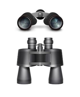 Vektorsatz der schwarzen seitenansicht des schwarzen reisefernglases lokalisiert auf weißem hintergrund