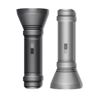 Vektorsatz der schwarzen und grauen tasche abgeschaltete taschenlampen-seitenansicht lokalisiert auf weißem hintergrund