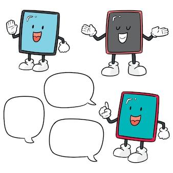 Vektorsatz der smartphonekarikatur