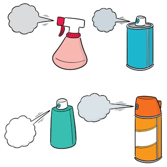 Vektorsatz der spraydose und der flasche