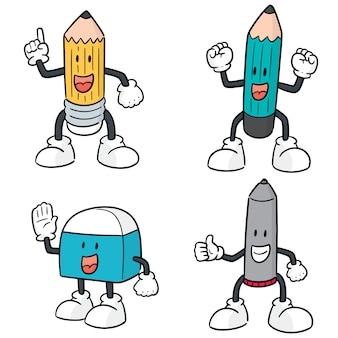 Vektorsatz der stift-, bleistift- und radiergummi-karikatur