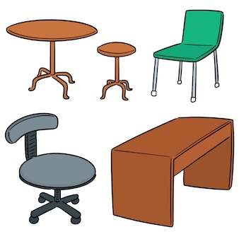 Vektorsatz der tabelle und des stuhls