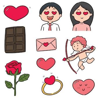 Vektorsatz der valentinsgrußkarikatur