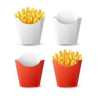 Vektorsatz der verpackten kartoffel-pommes frites mit der roten weißen leeren leeren karton-verpackungs-box lokalisiert auf hintergrund. fast food