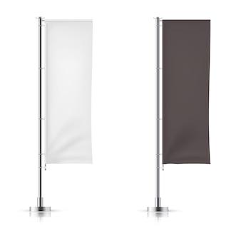 Vektorsatz der wellenartig bewegenden schwarzweiss-anzeigenfahnenflagge. vektor-mock-up.