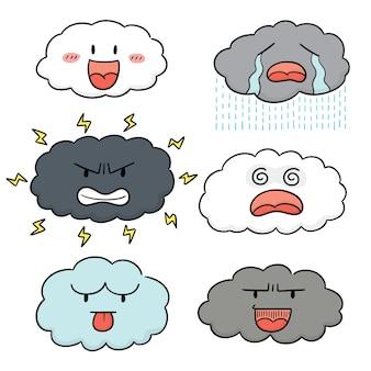 Vektorsatz der wolkenkarikatur
