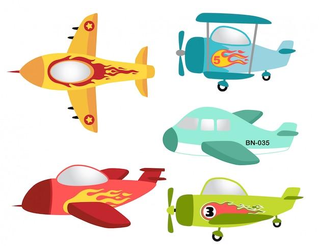 Vektorsatz des bunten flugzeuges