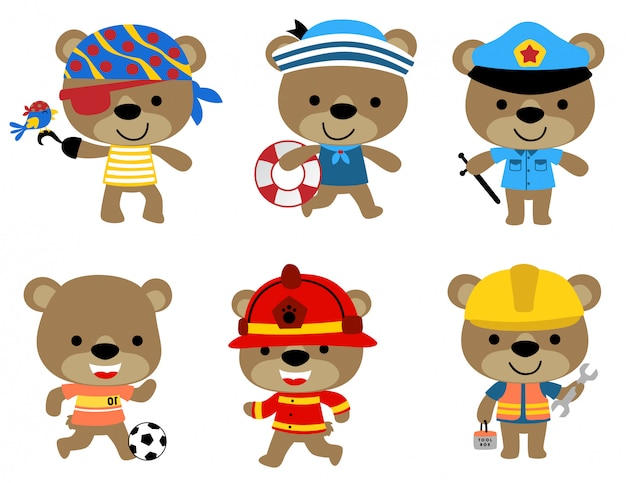 Vektorsatz des lustigen bären mit verschiedenen beruf