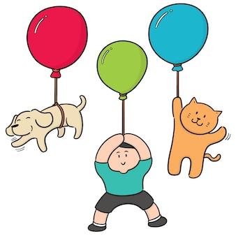 Vektorsatz des mannes und des tieres mit ballon