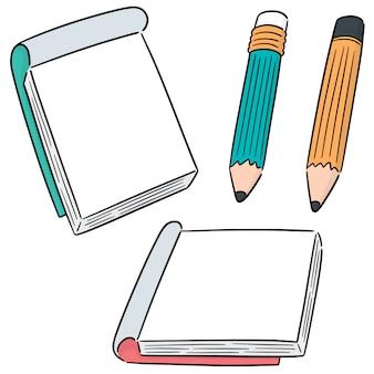 Vektorsatz des notizbuches und des bleistifts