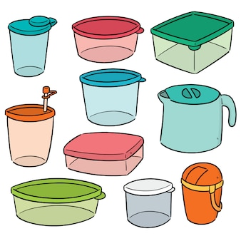 Vektorsatz des plastikbehälters