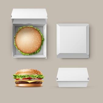 Vektorsatz des realistischen leeren leeren weißen karton-verpackungs-kasten-behälters für das branding mit hamburger-klassischem burger-amerikanischem cheeseburger nahaufnahme oben seitenansicht lokalisiert auf weißem hintergrund. fast food