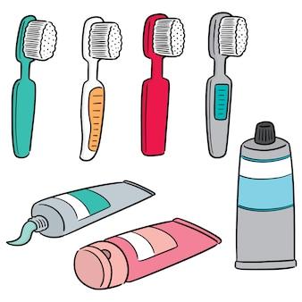 Vektorsatz des zahnpflegesatzes