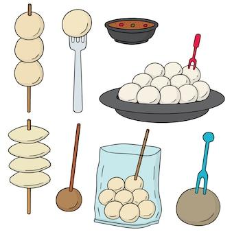 Vektorsatz fleischklöschen-, fischball-, schweinefleischball- und garnelenball