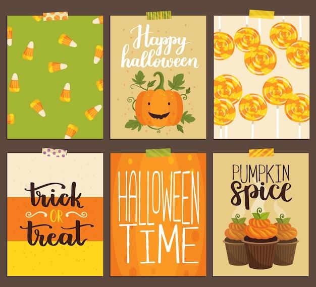 Vektorsatz halloween-grußkarten. niedliche handgezeichnete illustration mit kürbis, cupcakes, lutscher, süßigkeiten und handgeschriebenen zitaten. einladungsvorlagen.