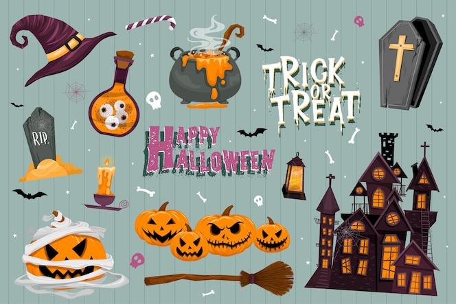 Vektorsatz halloween-partyeinladungen oder grußkarten mit handgeschriebener kalligraphie und traditionellen symbolen.