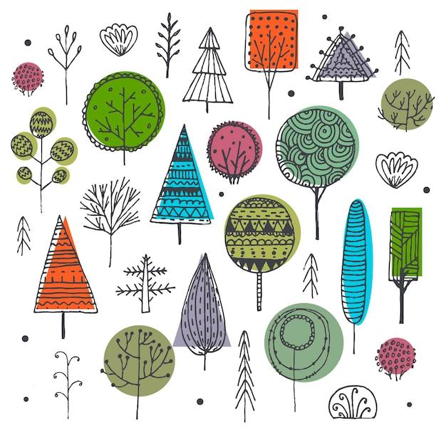 Vektorsatz handgezeichnete bäume, büsche, pflanzen, die mit mustern verziert sind. doodle-set