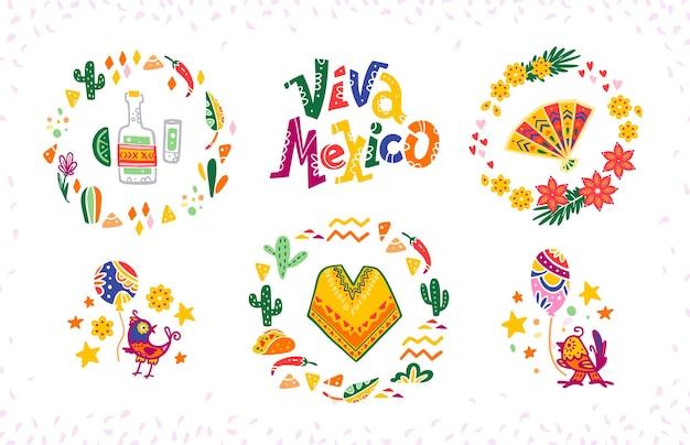 Vektorsatz handgezeichnete dekorative arrangements mit traditionellen mexikanischen symbolen und elementen - mexiko-schriftzug, dekor, tequila, poncho, kaktus, ventilator, tacos, vögel usw. einzeln auf weißem hintergrund.