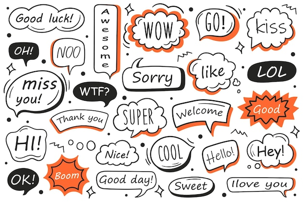 Vektorsatz handgezeichnete sprechblasen mit nachricht, grüßen und dialog. kritzeleien.