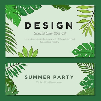 Vektorsatz illustrationsschablone für eine postkarte, eine visitenkarte oder ein werbebanner. platz für den text. abbildung auf lager. eine sammlung von bannern mit tropischen pflanzen für eine party oder veranstaltung.