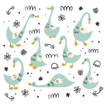 Vektorsatz isolate mit gänsen, enten. wohnung, cartoon, doodle-stile. vogelcharakter