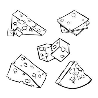 Vektorsatz käse getrennt auf einem weißen hintergrund