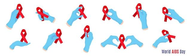 Vektorsatz karikaturillustration mit den doktorhänden in den blauen handschuhen, die rote bänder halten. medizinisches symbol für aids und hiv