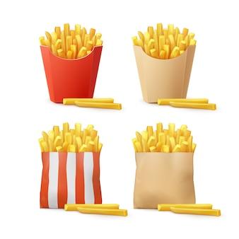 Vektorsatz kartoffeln pommes frites in rot weiß gestreiftem bastelpapier karton paket boxen taschen lokalisiert auf hintergrund. fast food