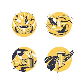 Vektorsatz kleiner illustrationen mit tee- und kaffeetassen.