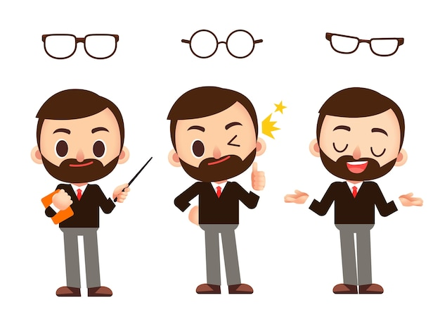 Vektorsatz lehrercharakter mit verschiedenen brillen