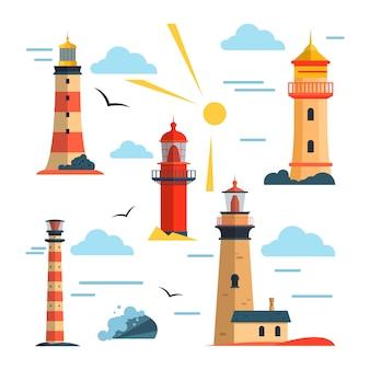 Vektorsatz leuchttürme. cartoon leuchtturm mit lichtstrahlen.