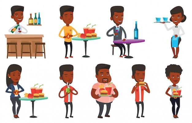 Vektorsatz leute, die essen und trinken.