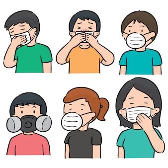 Vektorsatz leute, die medizinische schutzmaske verwenden