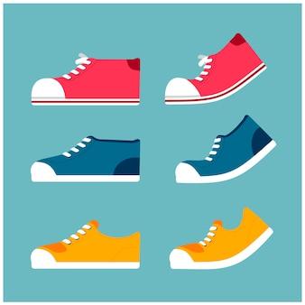 Vektorsatz minimale turnschuhe in den verschiedenen arten und in den farben