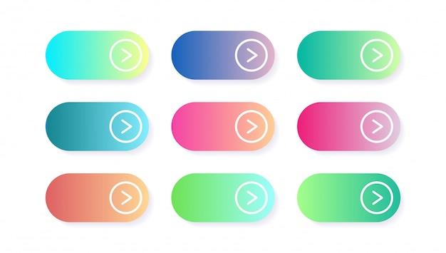 Vektorsatz moderne steigungs-app oder spielknöpfe. web-schaltfläche für benutzeroberfläche, materialdesign