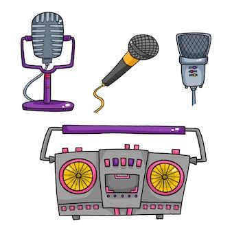 Vektorsatz musikausrüstung. retro tonbandgeräte und sammlung von mikrofon
