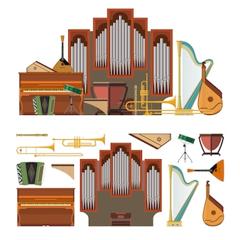Vektorsatz musikinstrumente in der flachen art. design-elemente und musikelemente isoliert