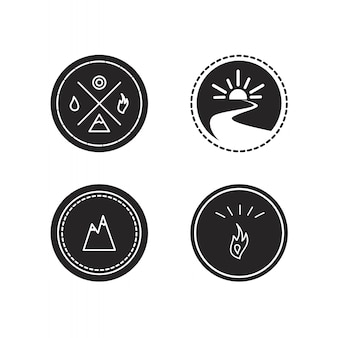 Vektorsatz ökologiefirmenzeichen, ikone und natursymbol