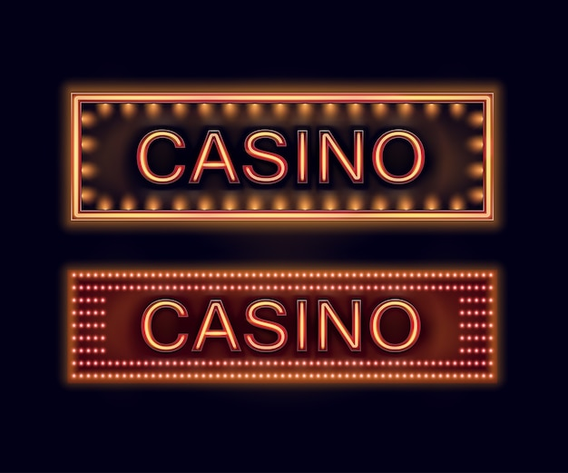 Vektorsatz orange beleuchtete kasinoschilder für plakat, flieger, plakatwand, websites und glücksspielverein lokalisiert auf schwarzem hintergrund