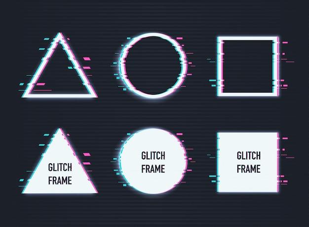 Vektorsatz rahmen mit störschubeffekt. kreis, dreieck, raute und quadrat mit vhs-glitch-effekt.