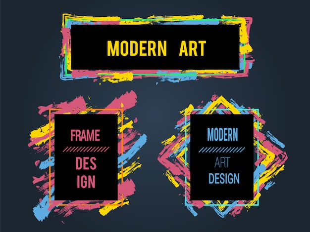 Vektorsatz rahmen und fahnen für text, grafiken der modernen kunst, hippie-art