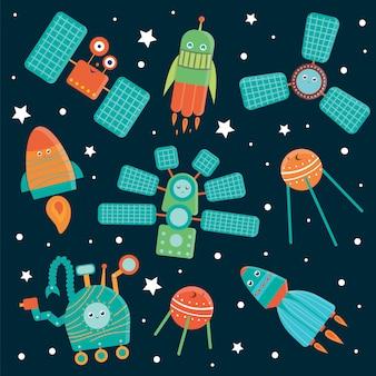 Vektorsatz raumfahrttechnik für kinder. helle und niedliche flache illustration des raumschiffes, rakete, satellit, raumstation, geländewagen