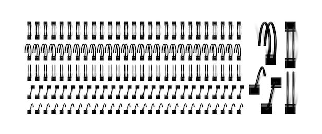 Vektorsatz spiralen zum binden von notizbuchblättern
