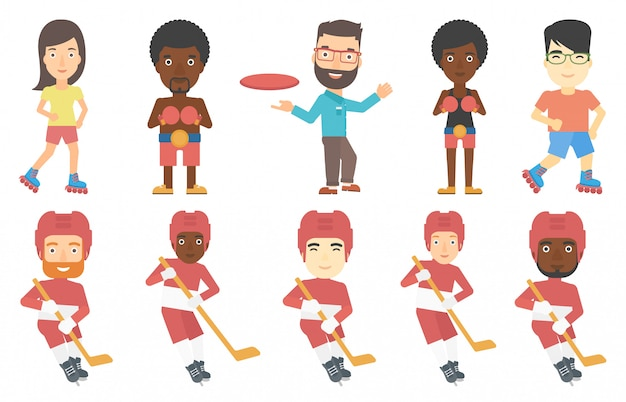 Vektorsatz sportcharaktere.