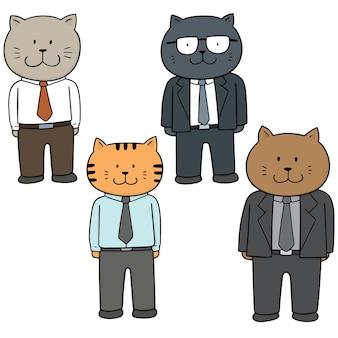 Vektorsatz tragende kleidung der katze